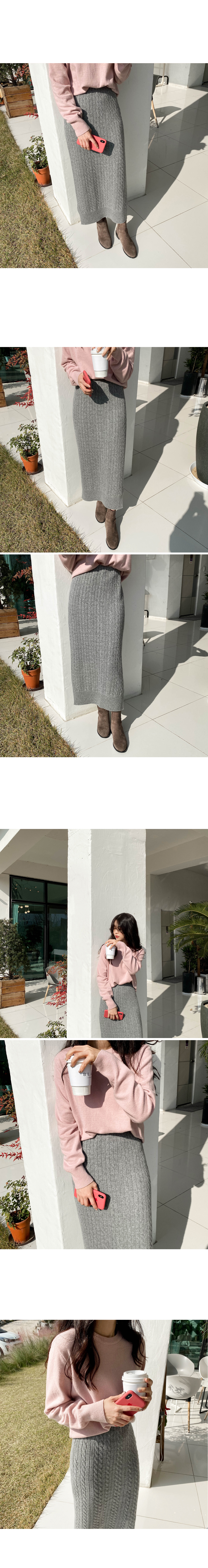 Lazy cable knit skirt