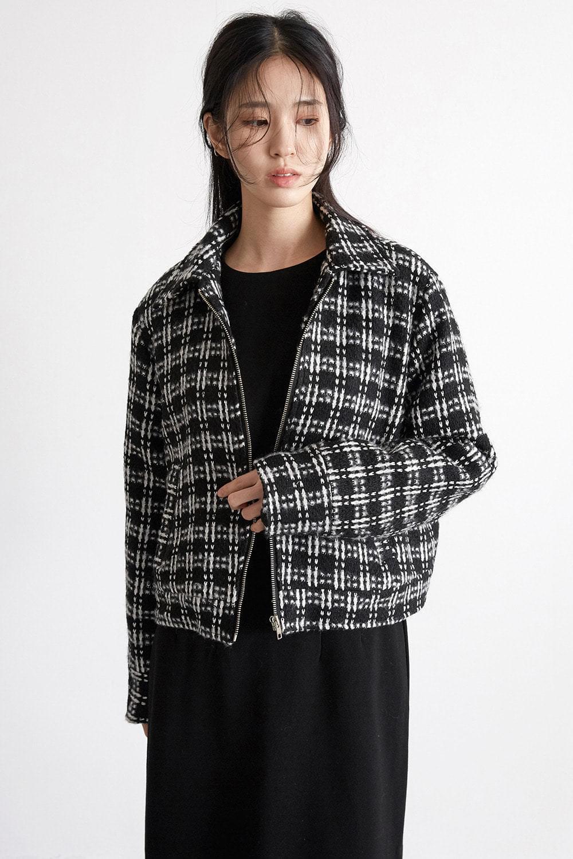 wrinkle check wool jacket (2colors)