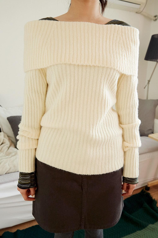 off-shoulder golgi knit (4colors)