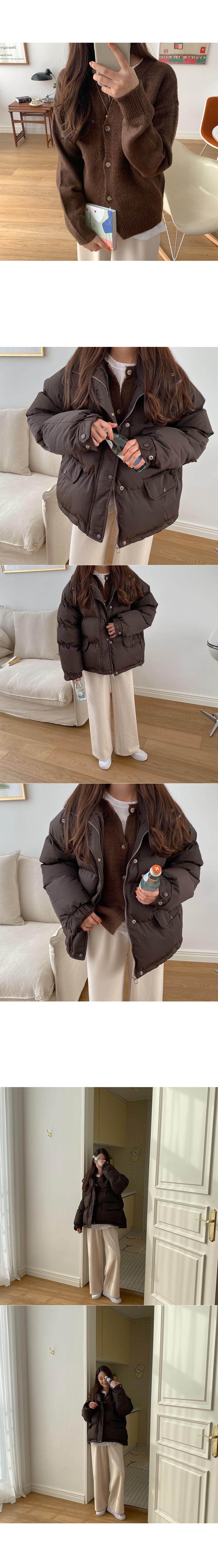 Felt round knit cardigan