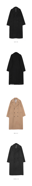 slit long double coat - men