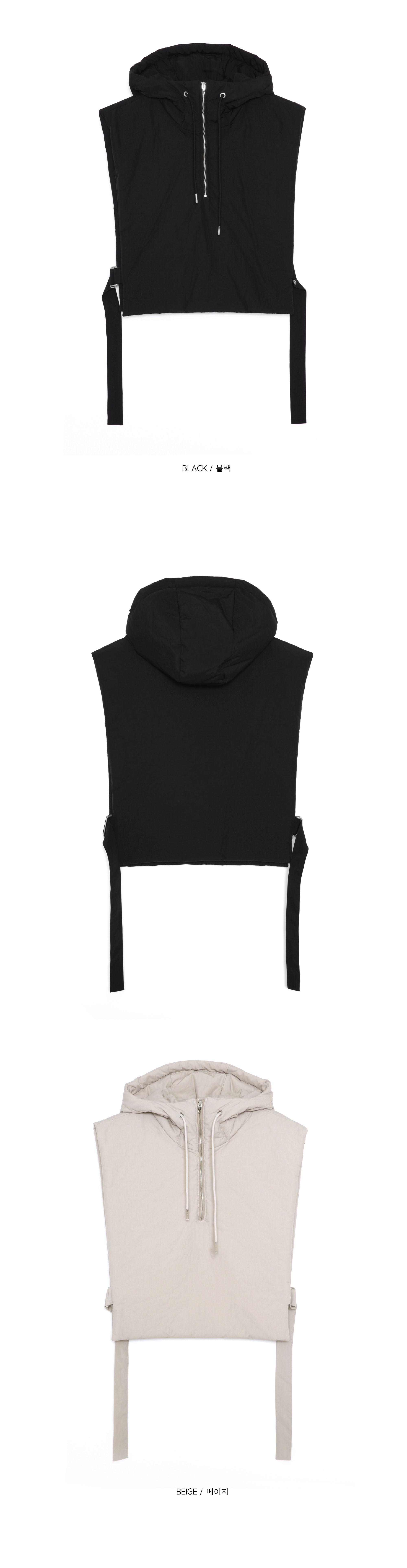 crop hood padding vest - men