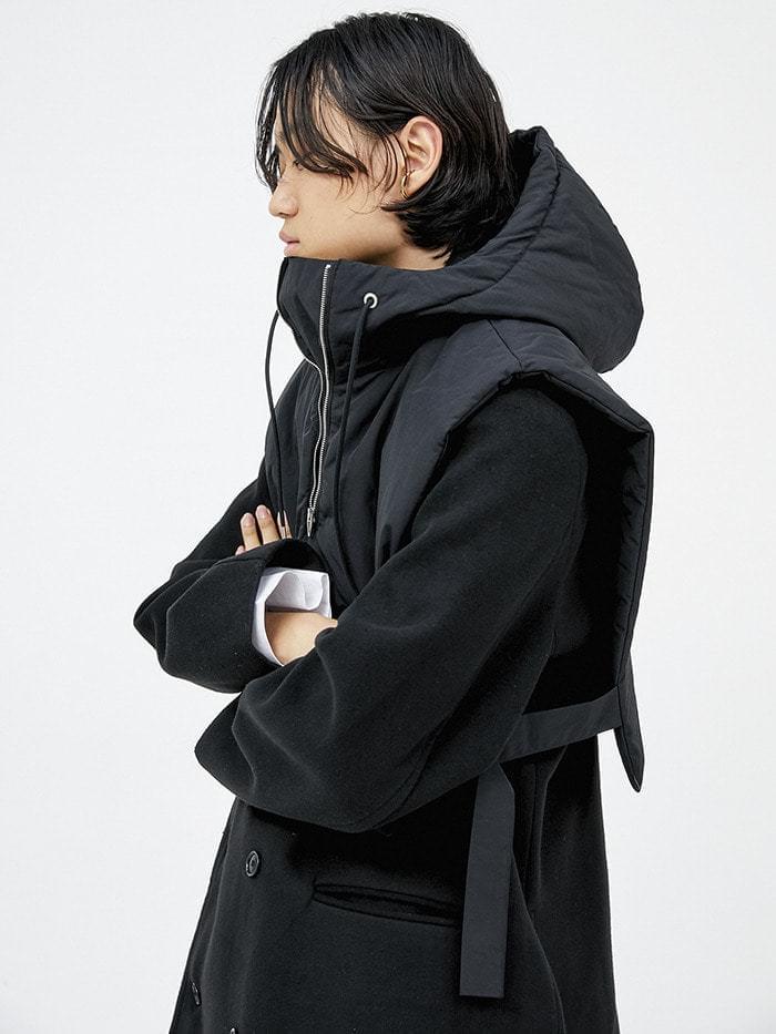 crop hood padding vest (2 color) - men