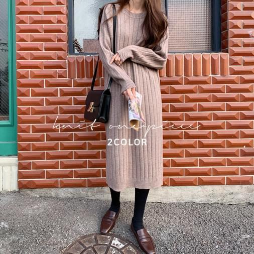 Fade Ribbed Knit Long Dress