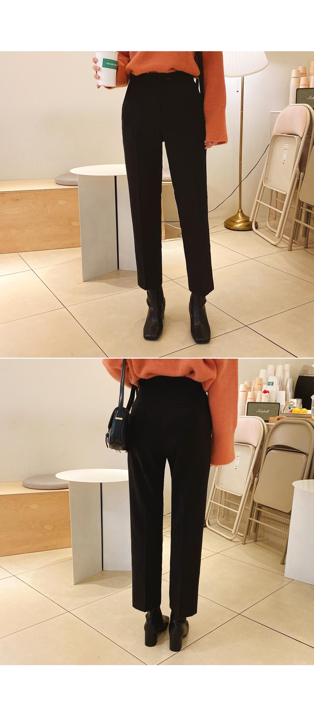 Slim Fit Crystal Lining Brushed Slacks
