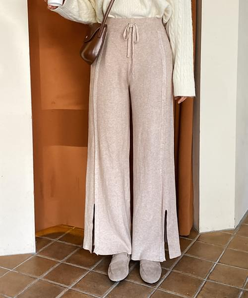 Slit Fancy Knit Pants