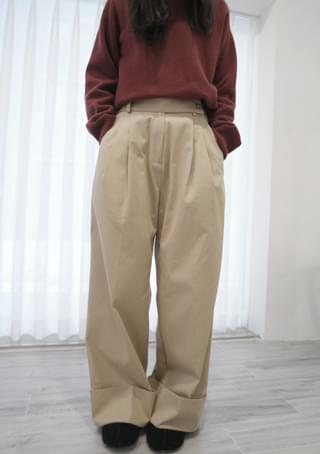 roll-up wide cotton pants