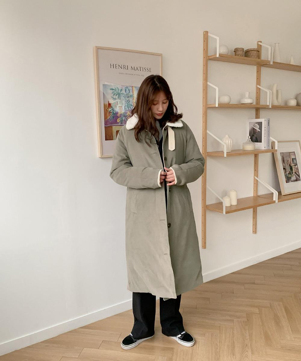 Fleece collar corduroy coat
