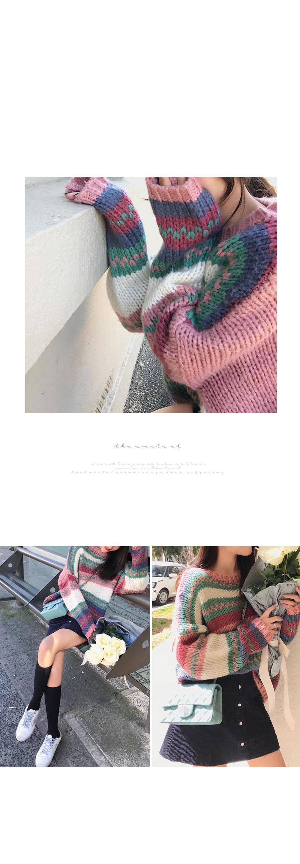 Love net pastel color knit