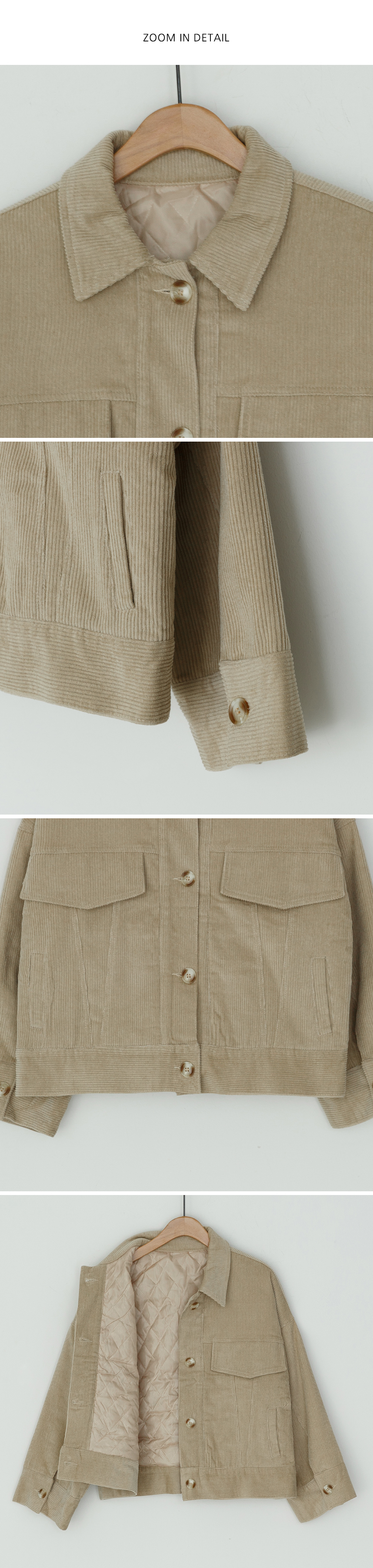 Quilted lining corduroy jacket-jk