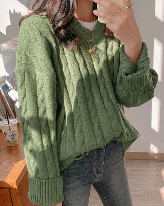Thank you ♥ Dot V V Pretzel knit-4color