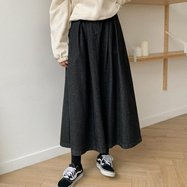 Flared Denim Long Skirt-sk