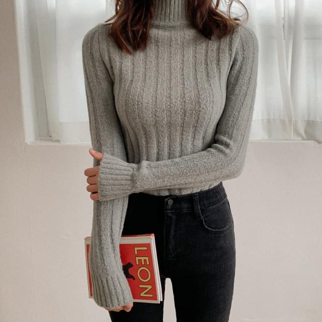 Ribbed Slim Fit Half Neck Knit-knit