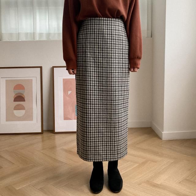 H-line Check Long Skirt