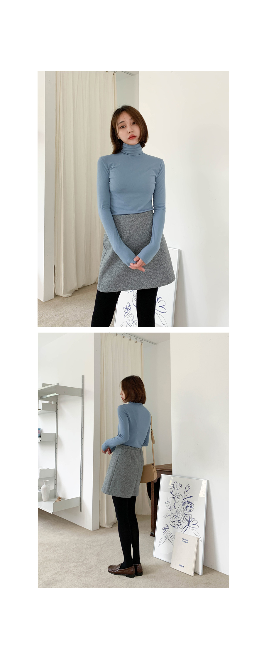Wool banded mini skirt