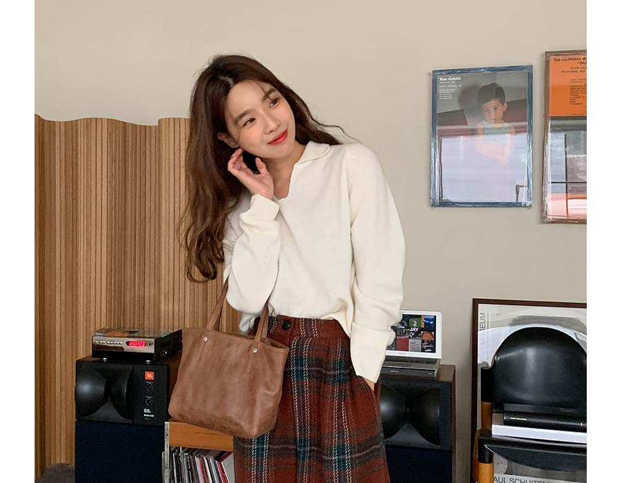 Cashmere slit collar knit_U (size : free)