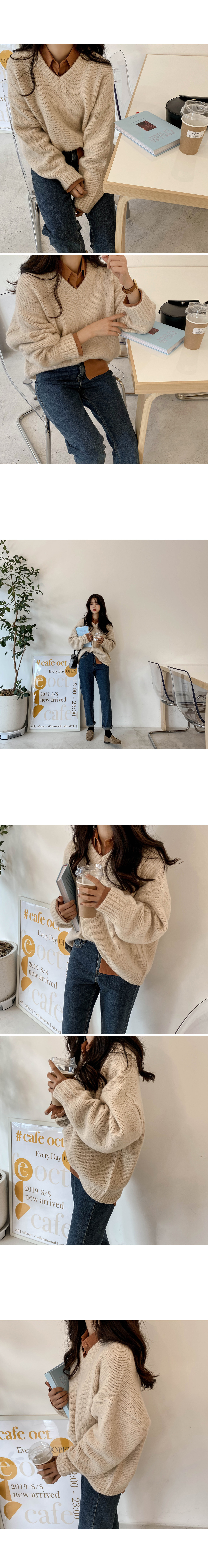 Woolly loose fit v neck knit