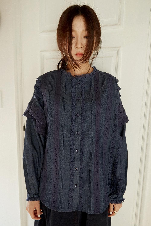 lace bust line blouse (2colors)