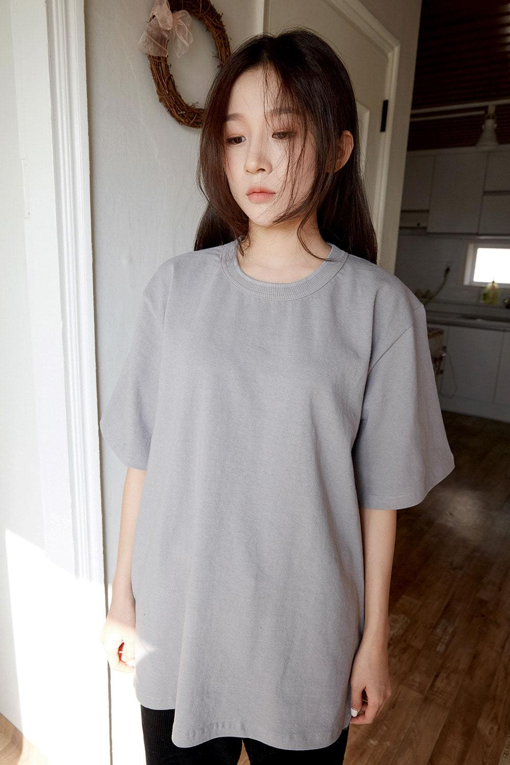cotton loose half t-shirt (5colors)