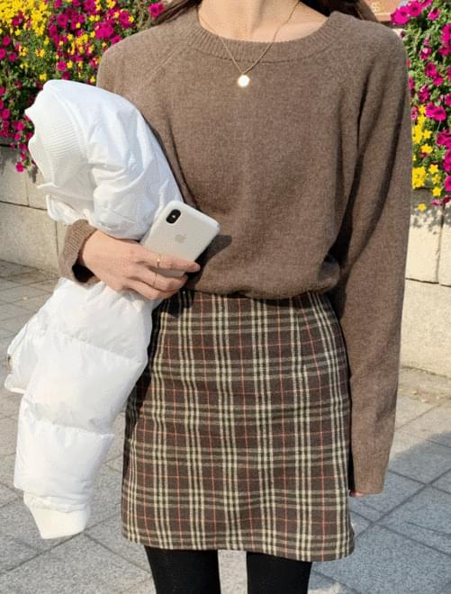 Celti check wool skirt