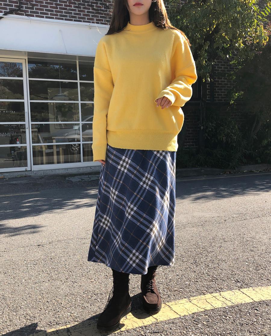 Winter check maxi skirt