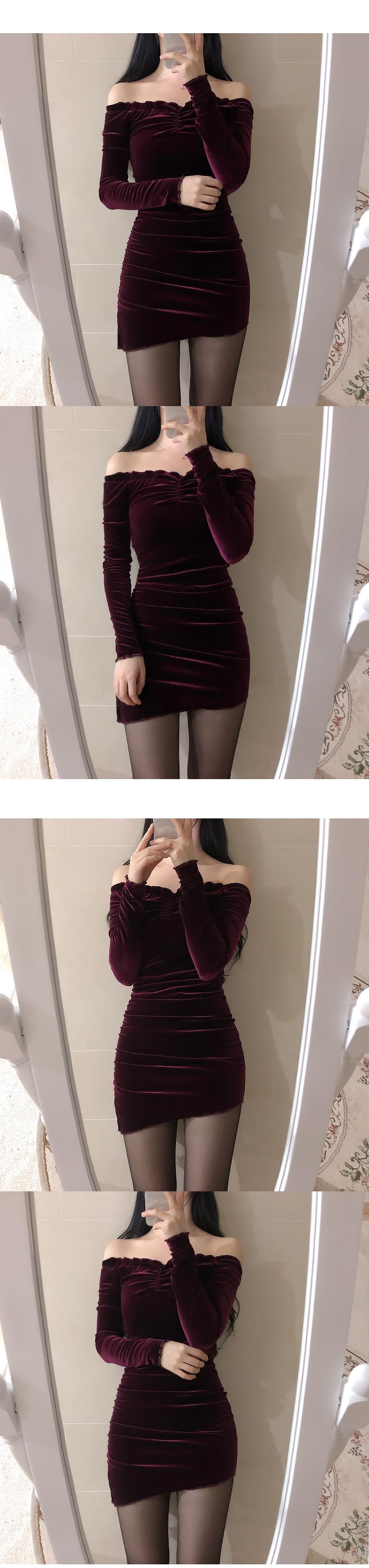 Shine Off Shoulder Shirring Mini Dress