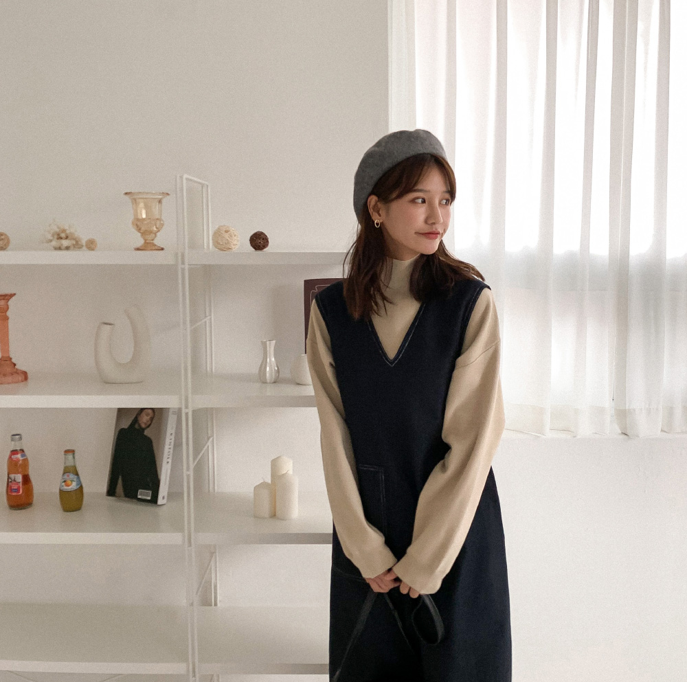 Stitched loose fit wool dress