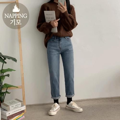 內刷毛合身純棉牛仔褲