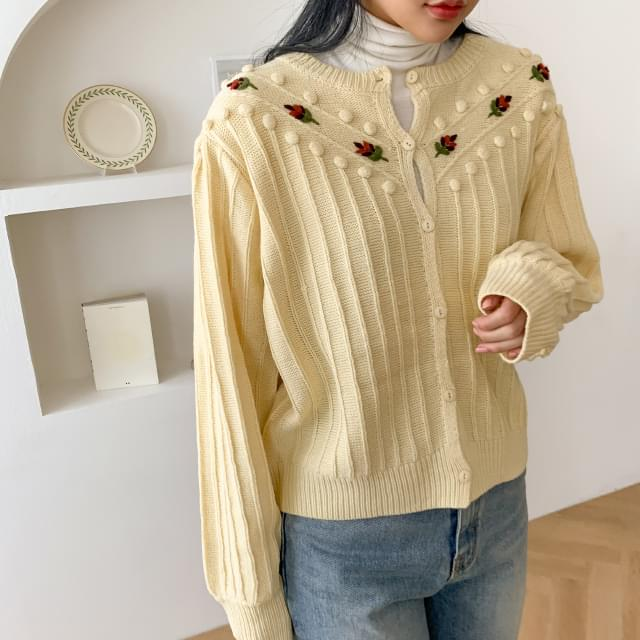 Vintage Embroidery Pom Pom Cardigan-cd 開襟衫 & 背心