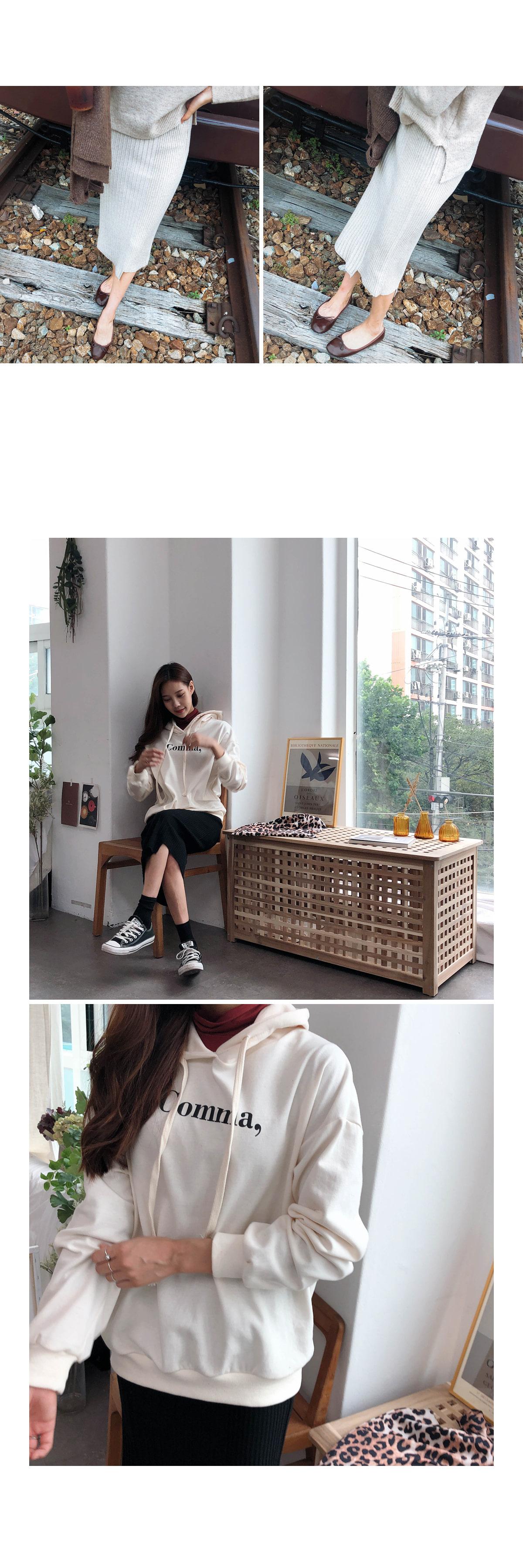 Wool H line cream knit skirt