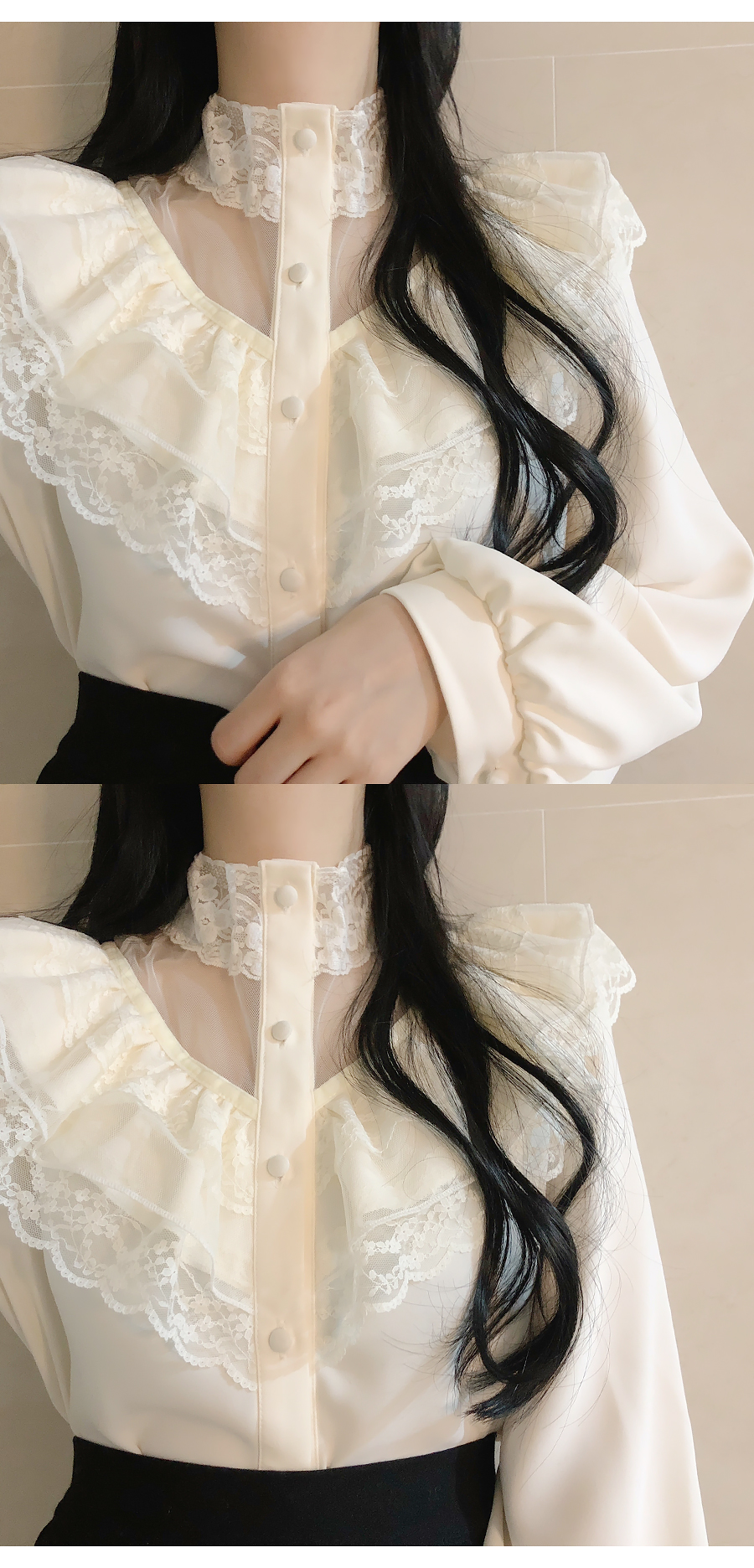 Saber lace frill blouse
