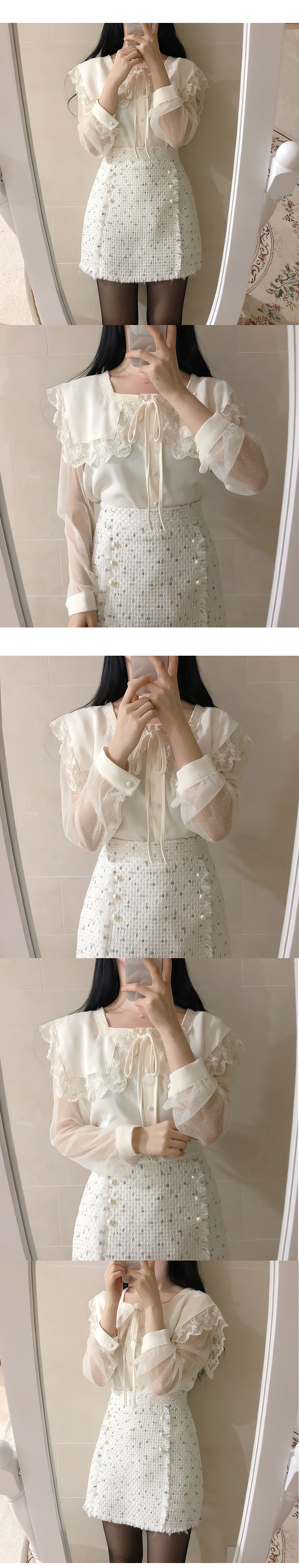 Rose lace collar see-through