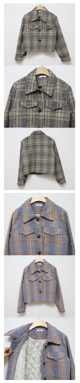 短版格紋西裝外套+貼身短裙
