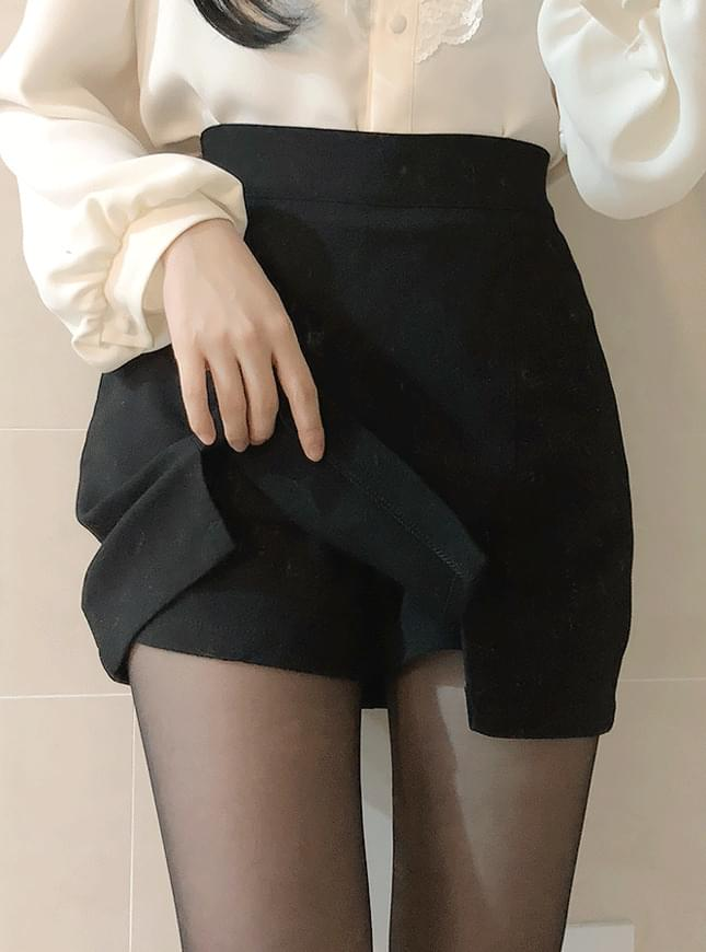 Plain double-breasted skirt pants