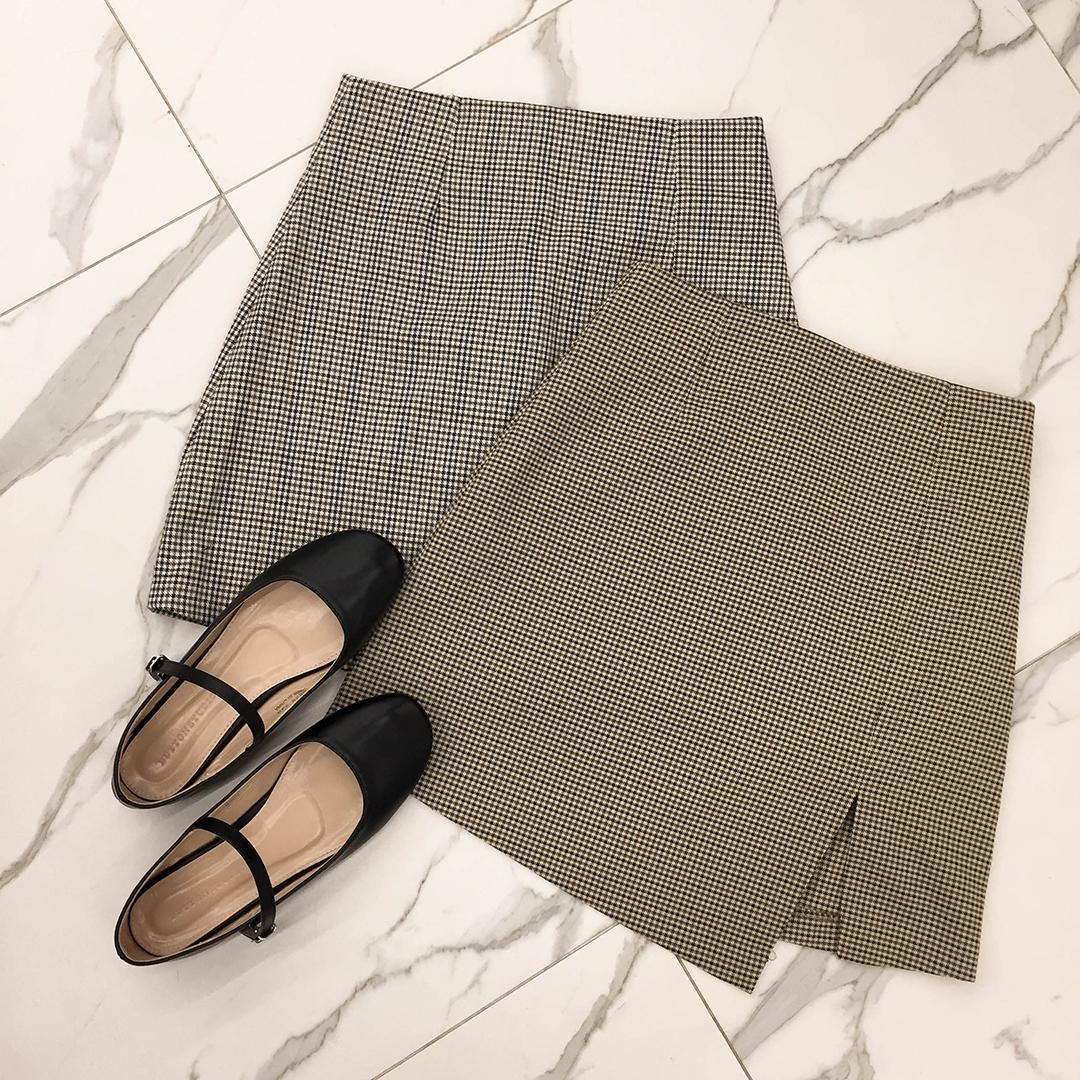 Unbalanced Check Skirt
