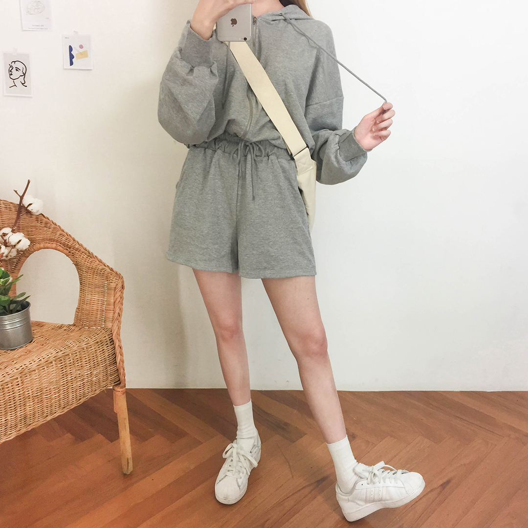 Banding hooded jumpsuit