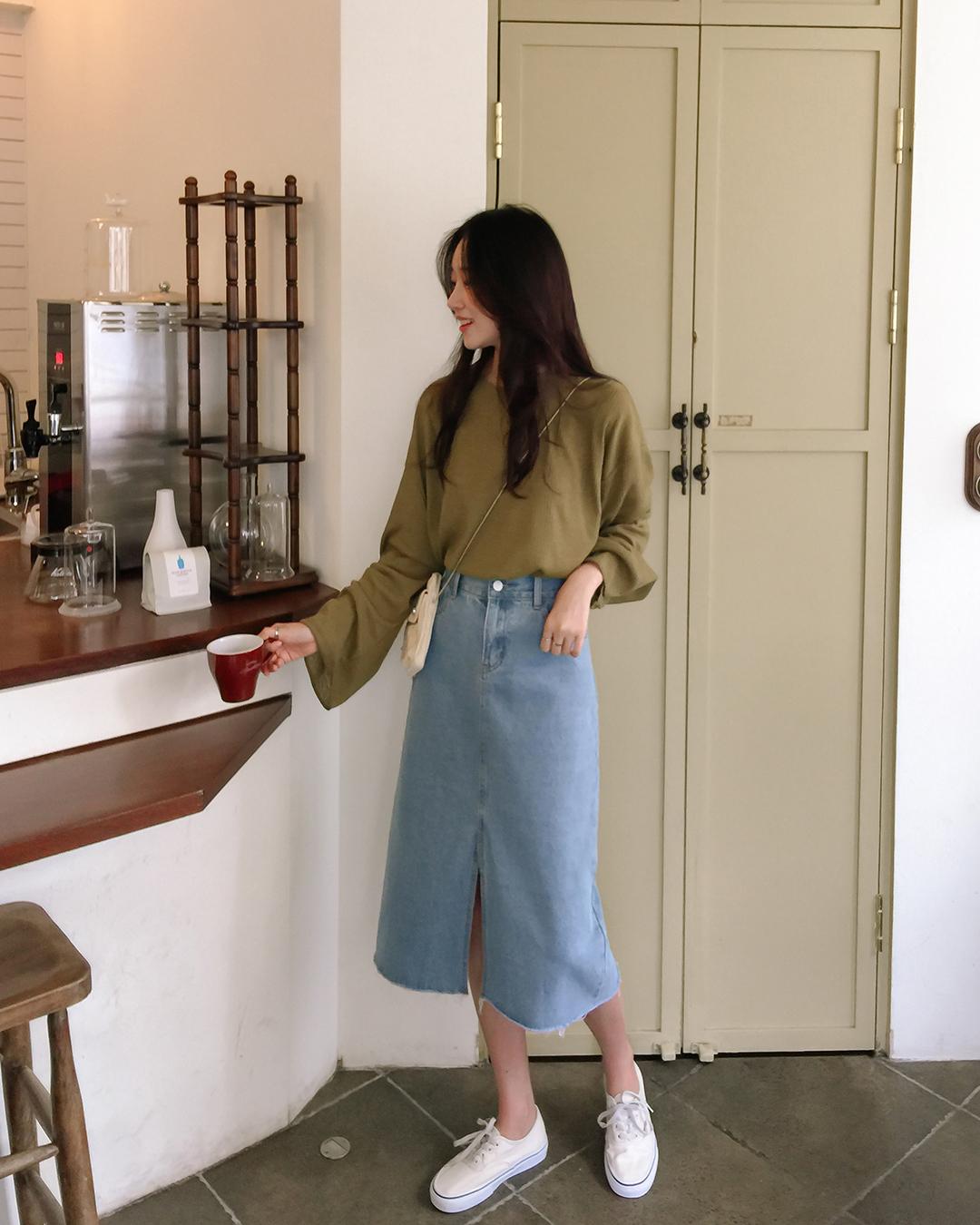321 slit denim long skirt