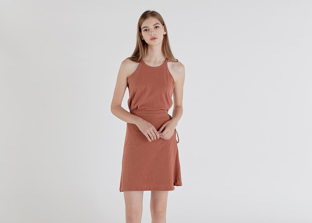 Wrap Cotton Halter Dress
