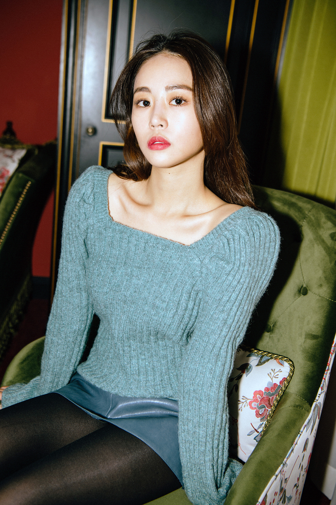 Square neck puff knit