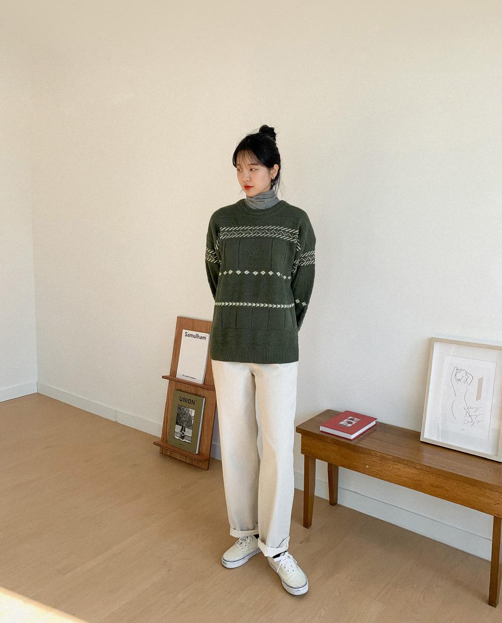 Nordic Pattern Alpaca Wool Knit-knit