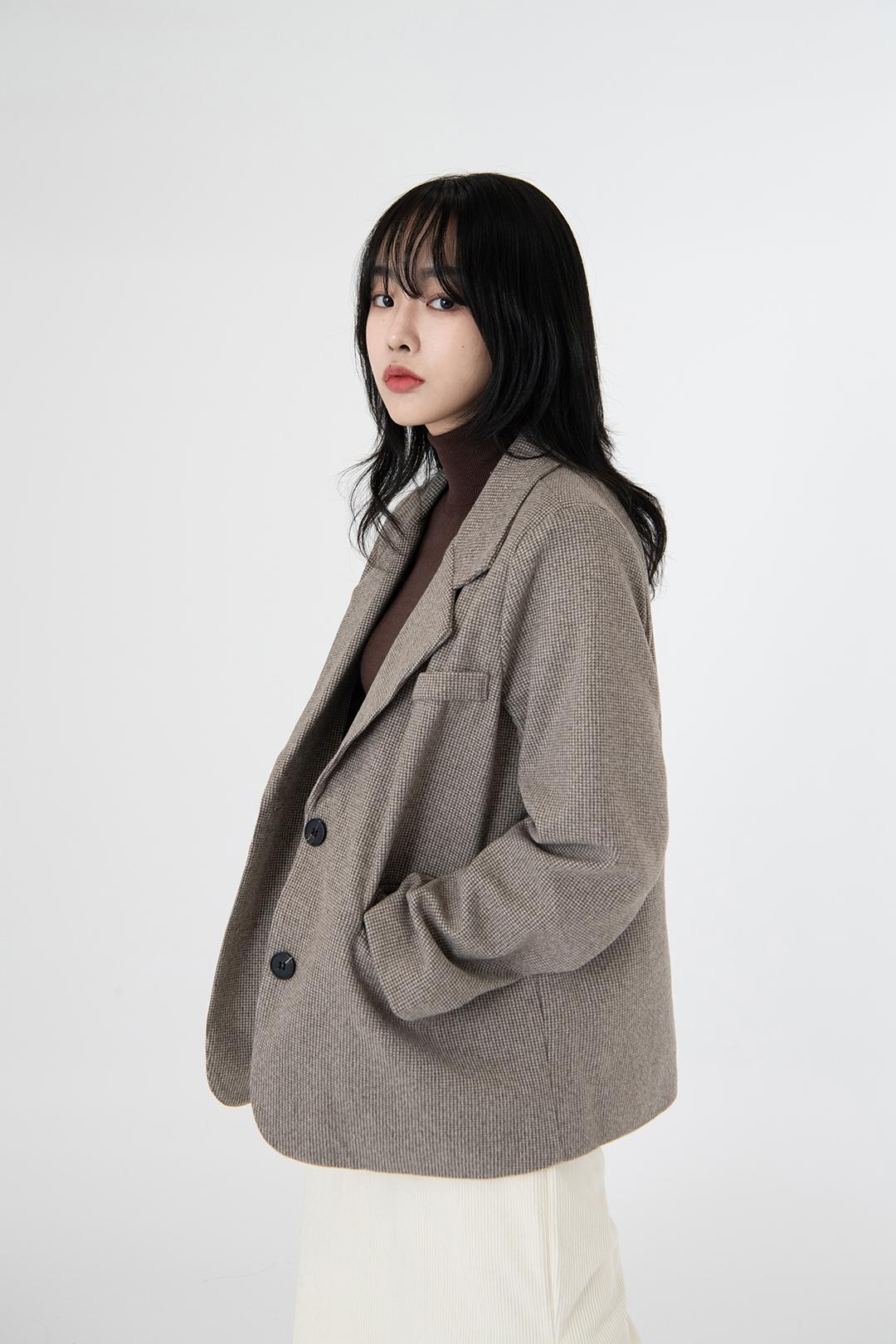 Modern check wool pocket jacket