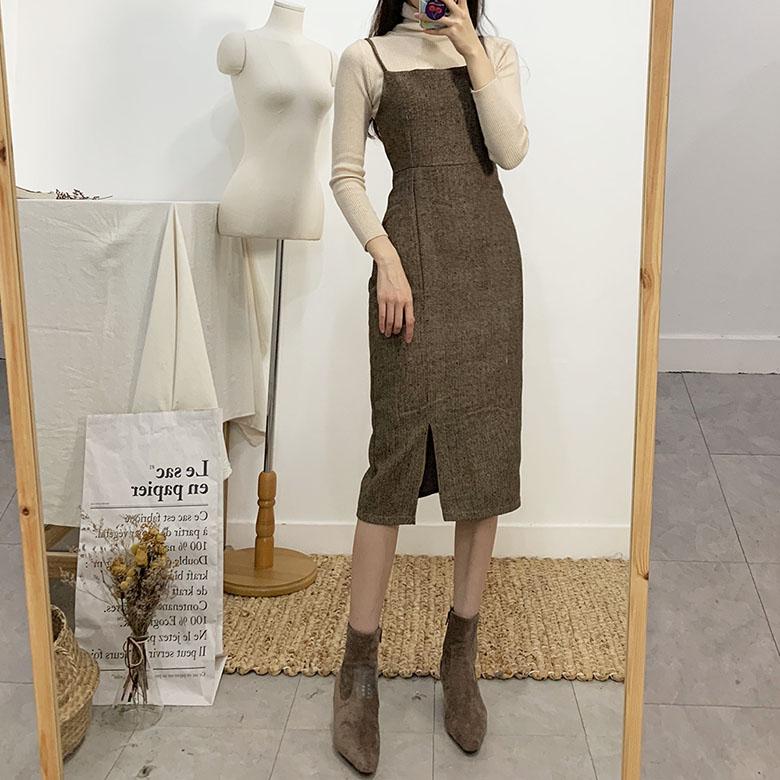 Blair Herringbone Bustier Long Dress 2colors