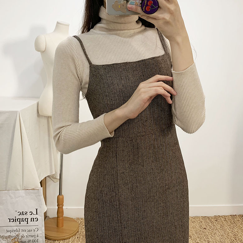 Blair Herringbone Bustier Long Dress 2colors