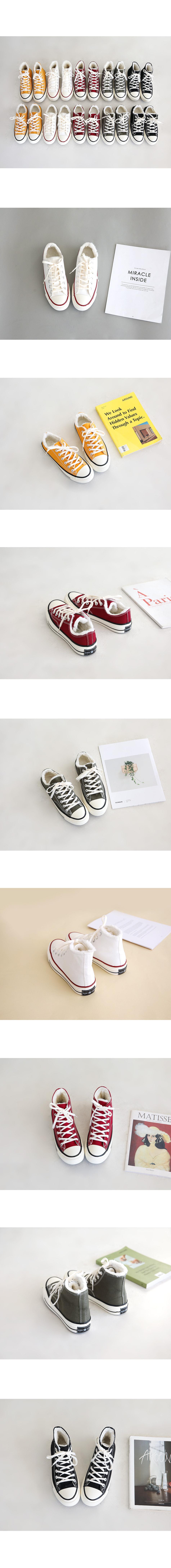 Simple Basic Fur Fleece Converse Shoes 2cm