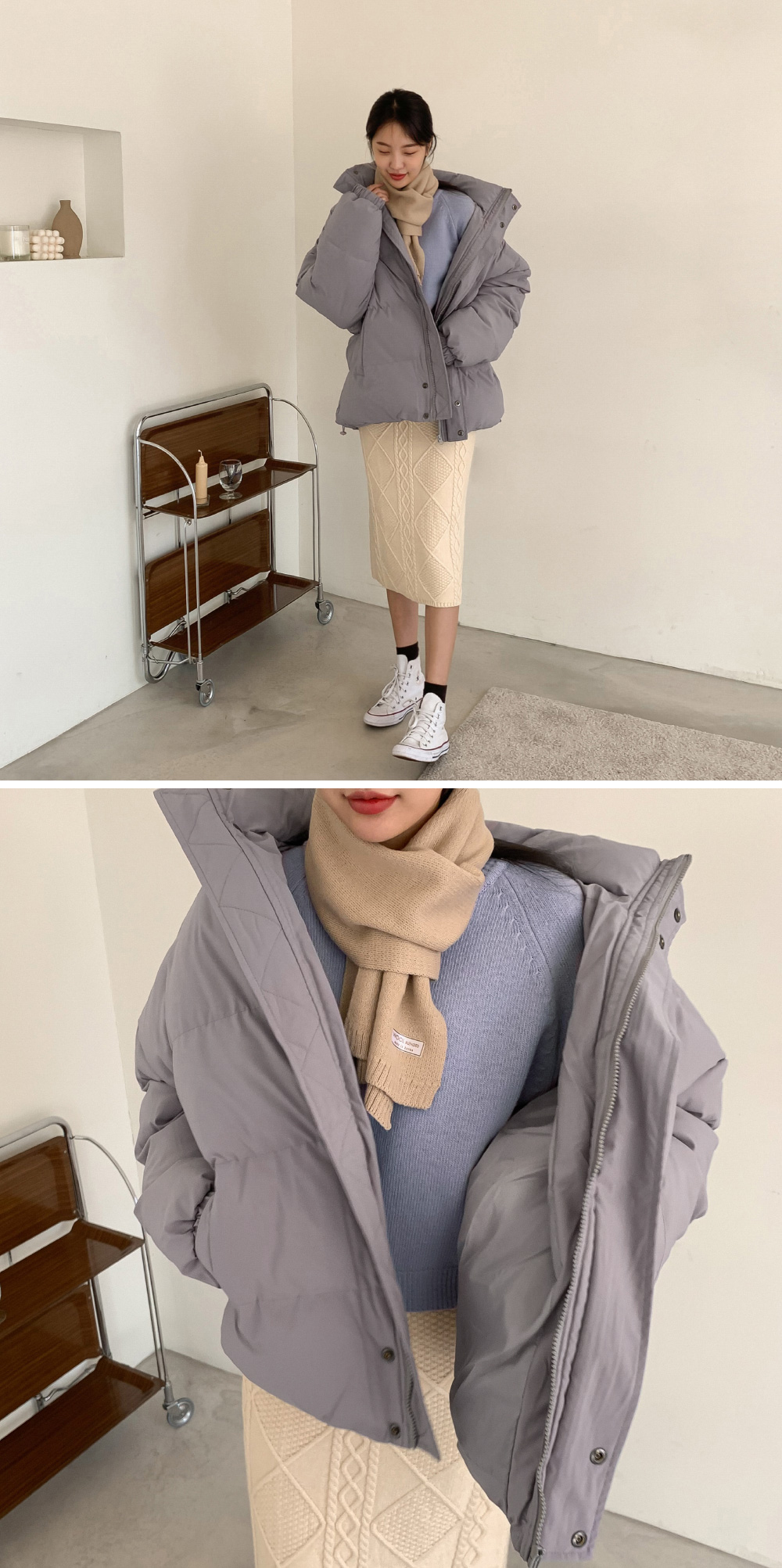 Overfit High Neck Wellon Padded Jumper-jp Cream Color / Dec 20 Shipping
