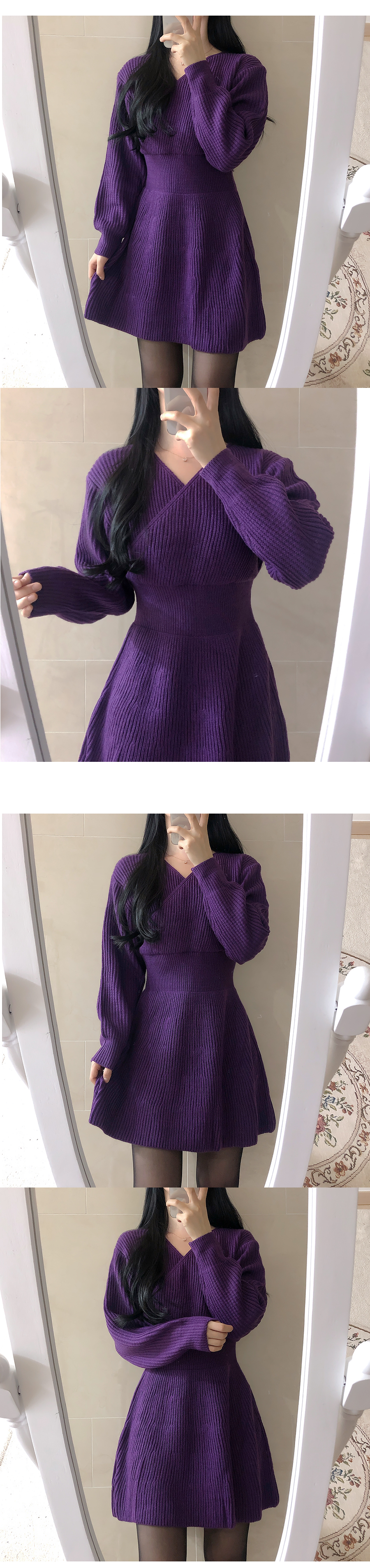 Her wrap knit dress