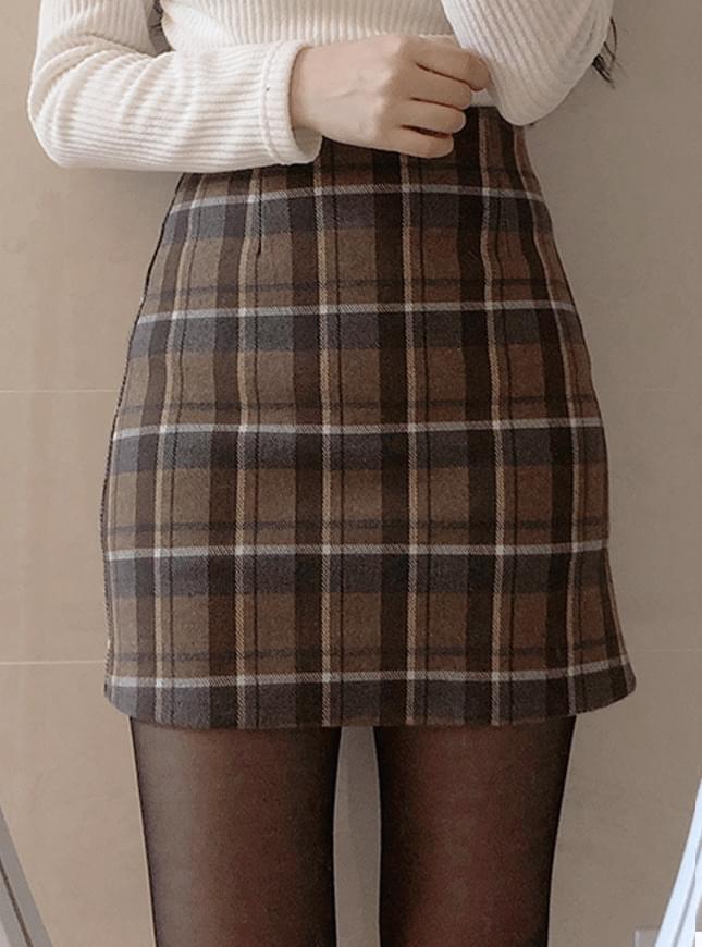 Aaron wool check skirt