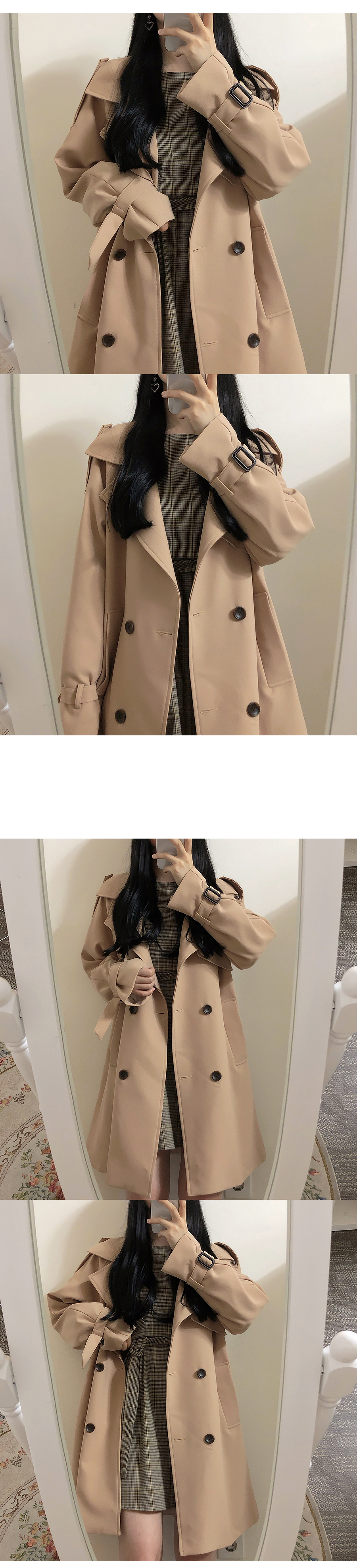 Self-made ♥ Beige Crystal Trench Coat