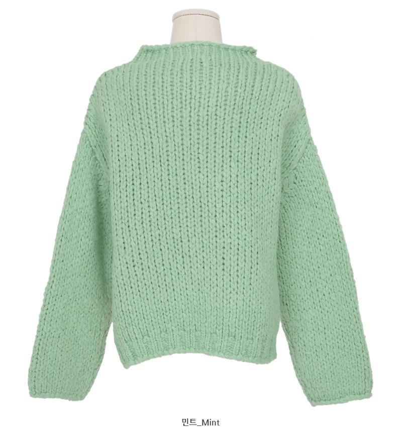 Fuzzy wool round knit_P (size : free)