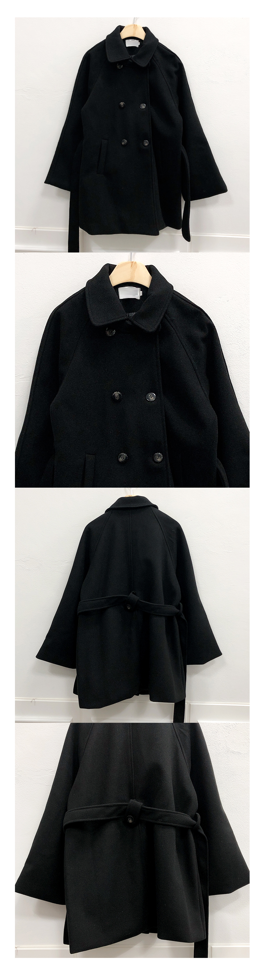 ♥ Baby Cara Double Black Coat